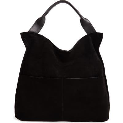 Sole Society Suede & Faux Leather Shoulder Bag - Black