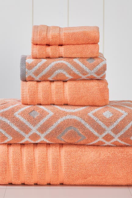 Image of Modern Threads Yard Dyed Towel 6-Piece Set - Oxford Coral
