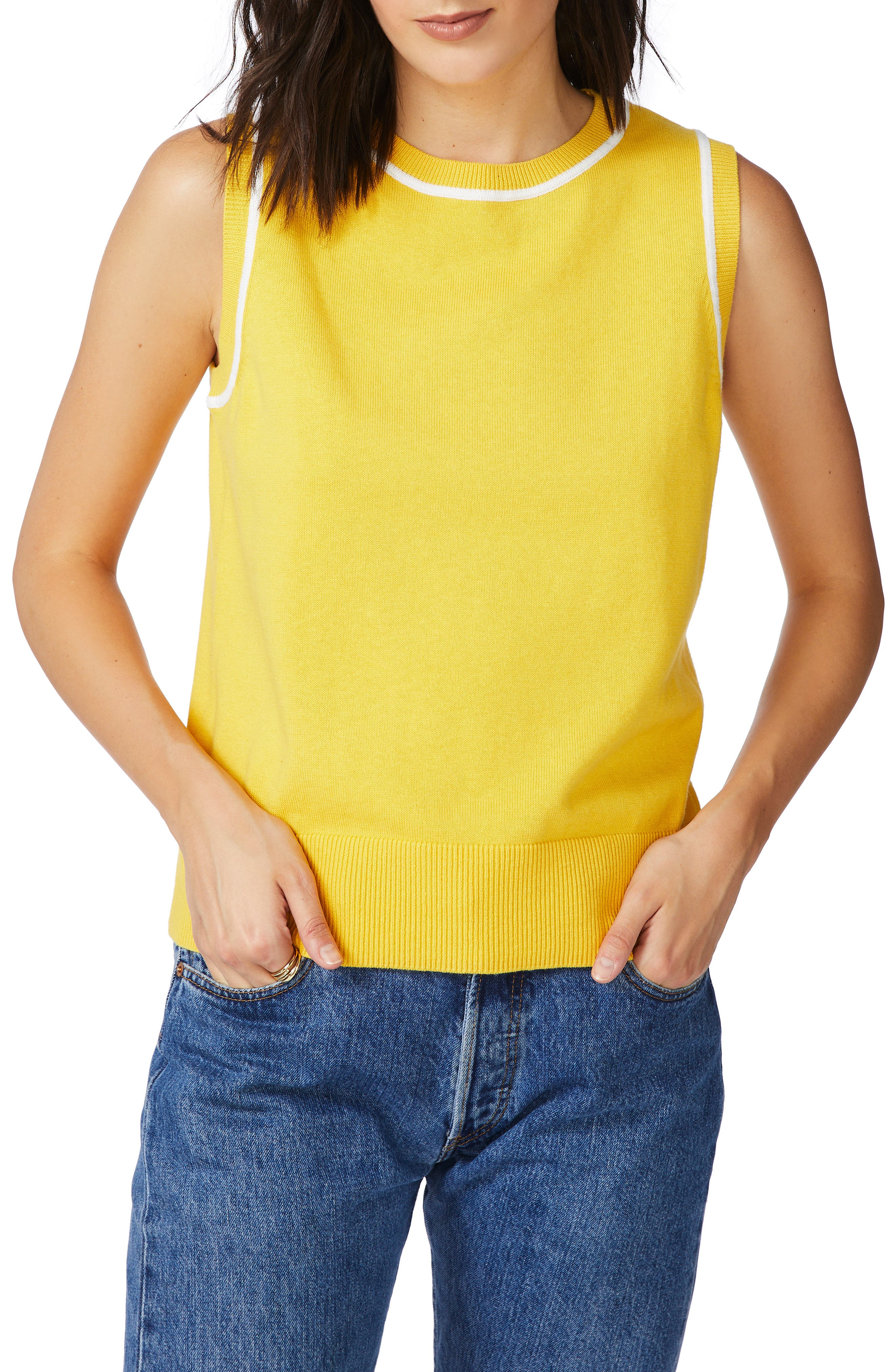60s Shirts, T-shirts, Blouses, Hippie Shirts Womens Court  Rowe Tipped Cotton  Silk Sleeveless Sweater Size XX-Large - Yellow $69.00 AT vintagedancer.com
