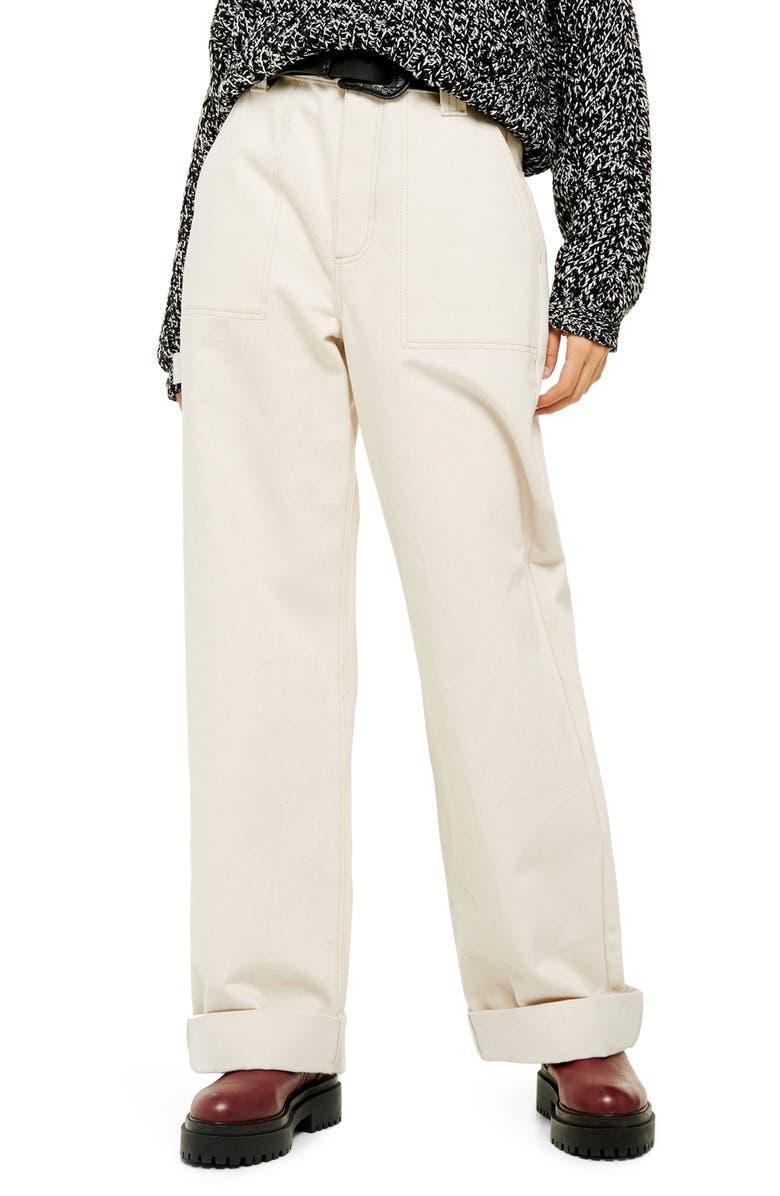 TOPSHOP Utility Jeans, Main, color, CREAM