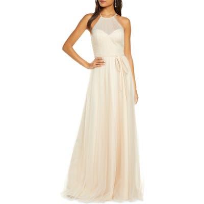 Marchesa Notte Halter Tulle Bridesmaid Gown, Beige