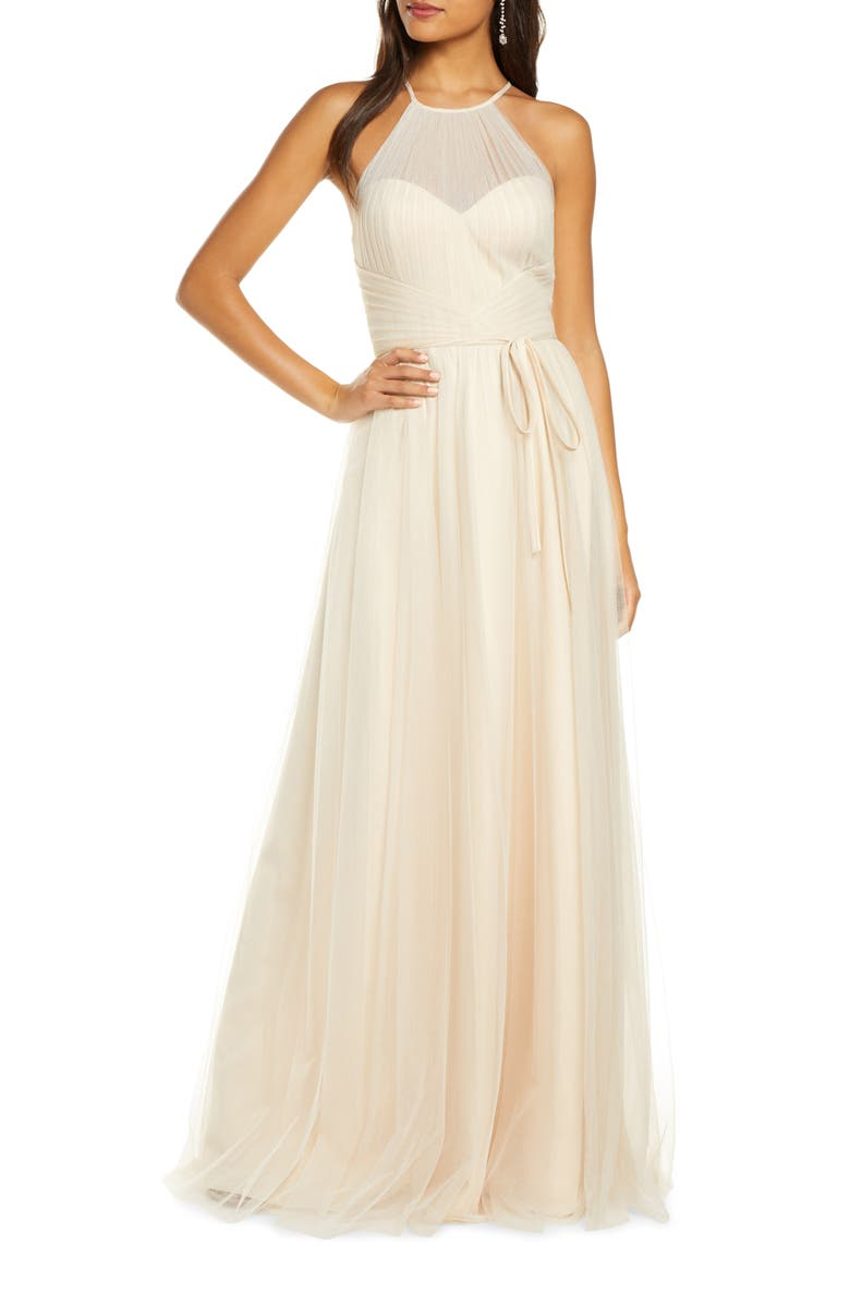 MARCHESA NOTTE Halter Tulle Bridesmaid Gown, Main, color, CHAMPAGNE