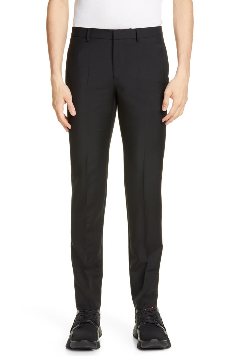 GIVENCHY Dagger Wool & Mohair Dress Pants, Main, color, BLACK