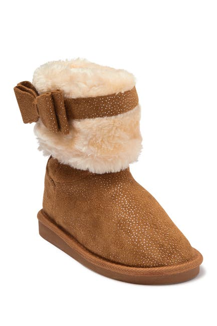 Image of bebe Shimmer Microsuede Faux Fur Short Boot