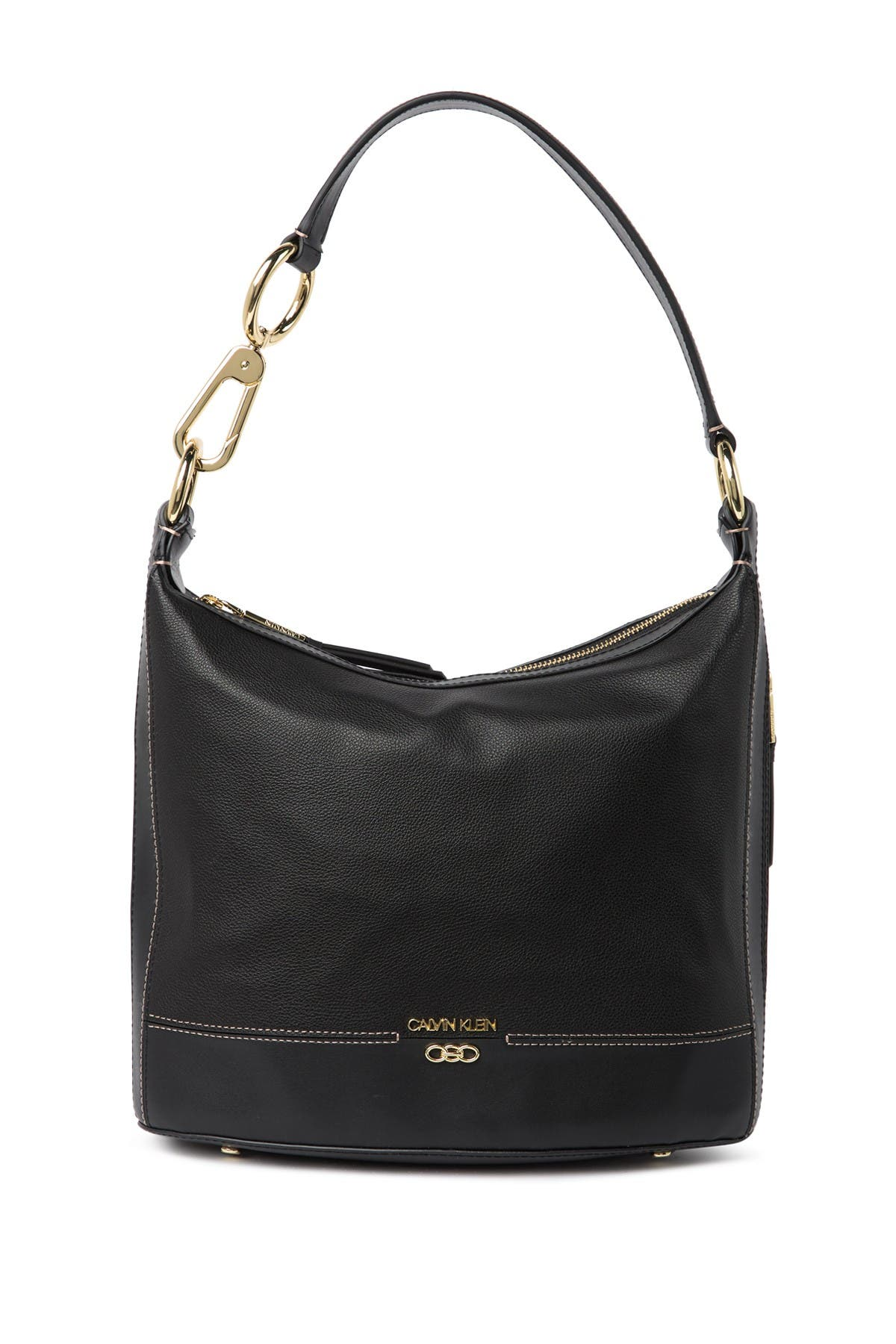 Image of Calvin Klein Sophia Micro Pebble Leather Hobo Shoulder Bag