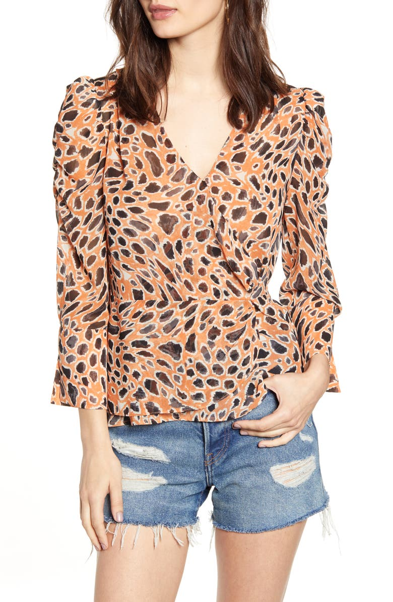 J.O.A. Animal Print V-Neck Peplum Top, Main, color, PUMPKIN MULTI