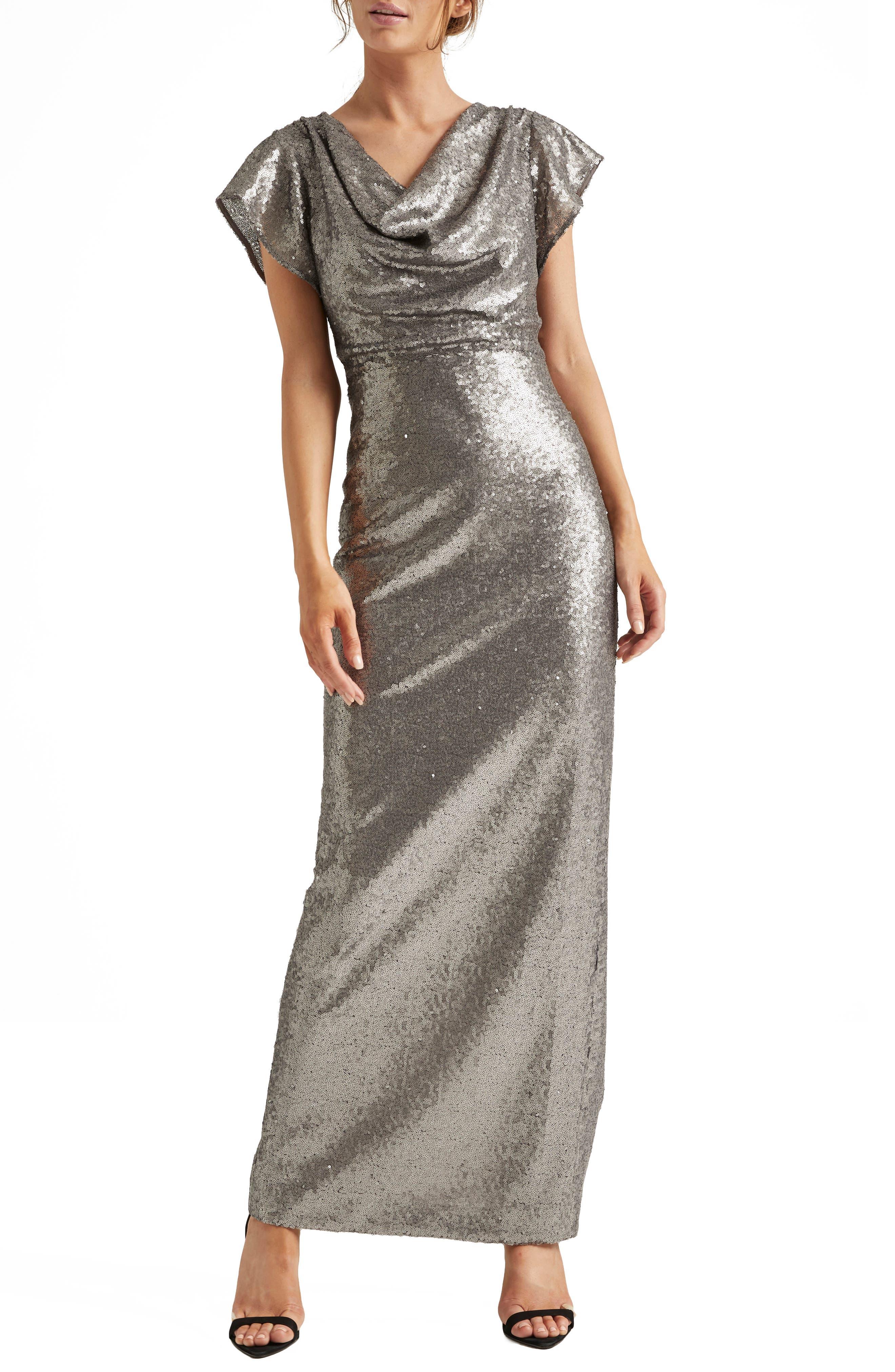 70s Prom, Formal, Evening, Party Dresses Womens Halston Heritage Cowl Neck Sequin Column Gown $209.00 AT vintagedancer.com