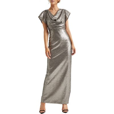 Halston Heritage Cowl Neck Sequin Column Gown, Metallic