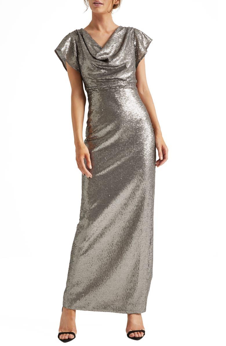 HALSTON HERITAGE Cowl Neck Sequin Column Gown, Main, color, GUNMETAL
