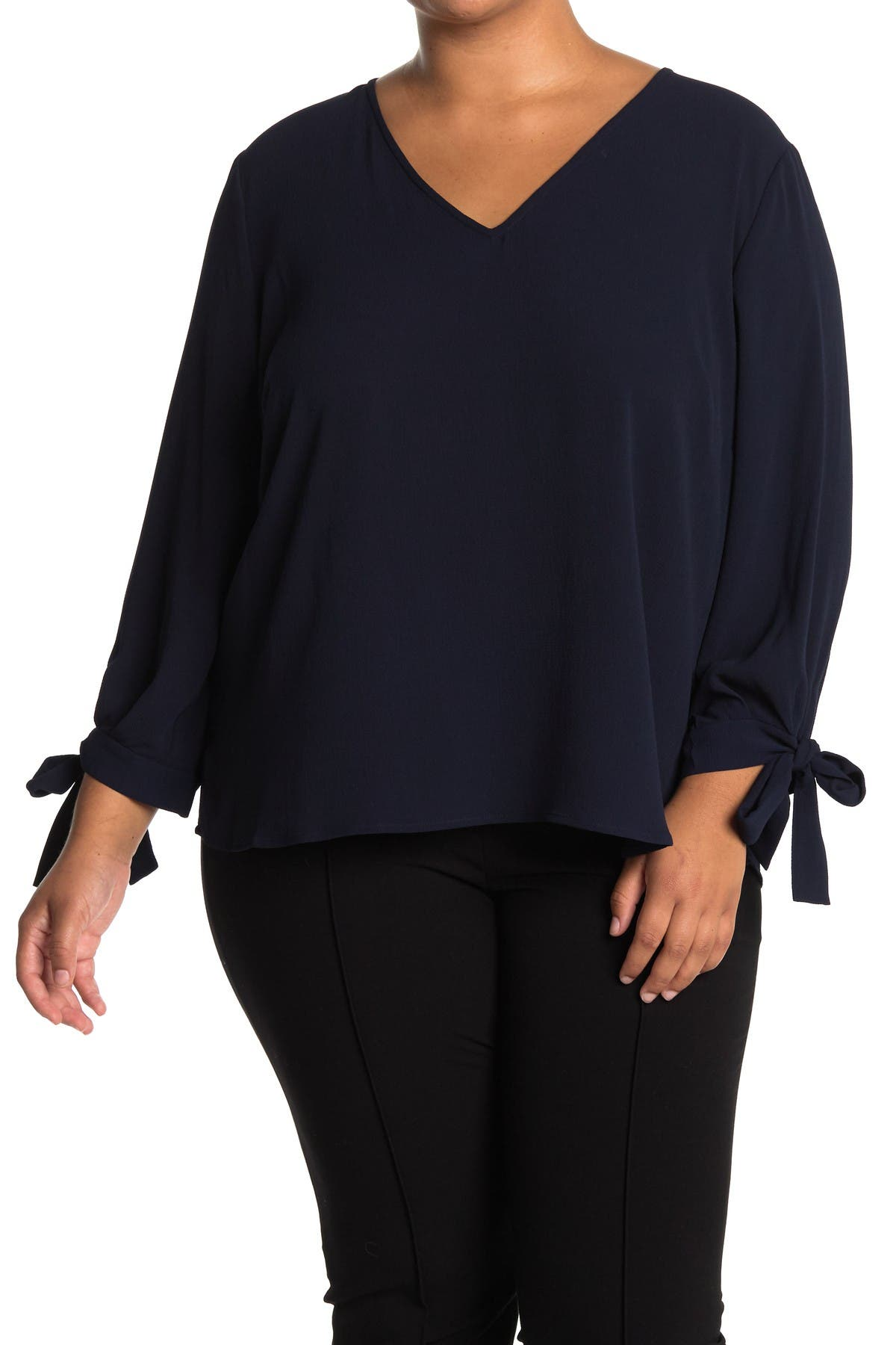 Image of CeCe by Cynthia Steffe 3/4 Sleeve V-Neck Blouse With Tie Sleeves