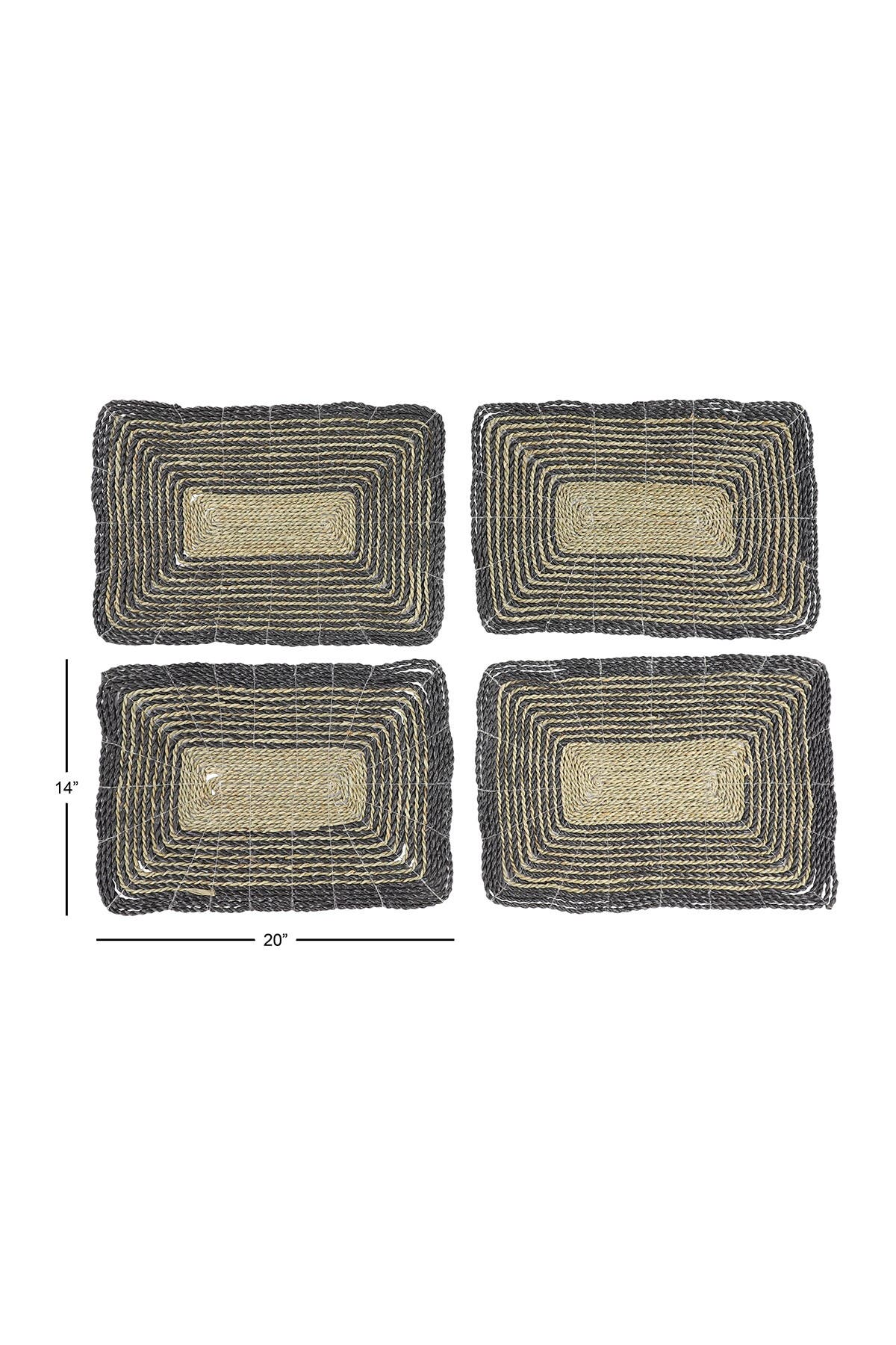 Image of Willow Row Rectangular Striped Gray & Natural Seagrass Placemats - Set of 4