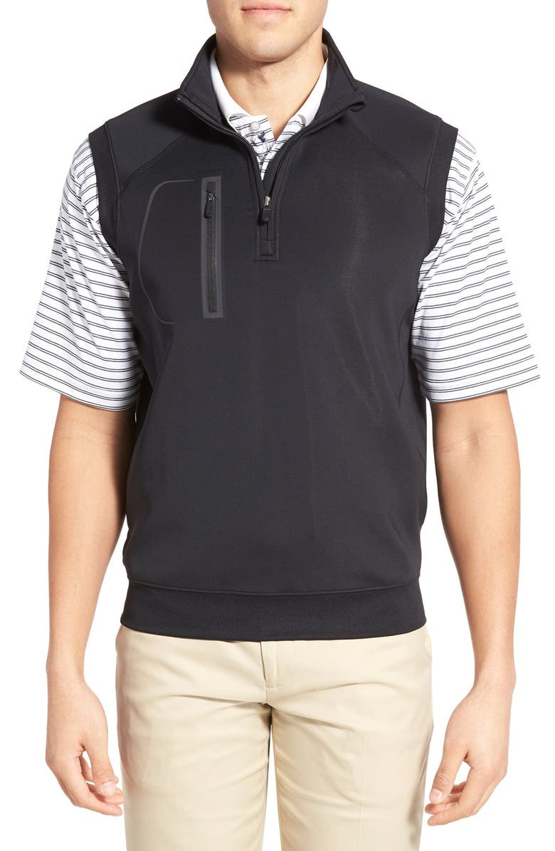 BOBBY JONES XH2O Crawford Stretch Quarter Zip Golf Vest, Main, color, BLACK