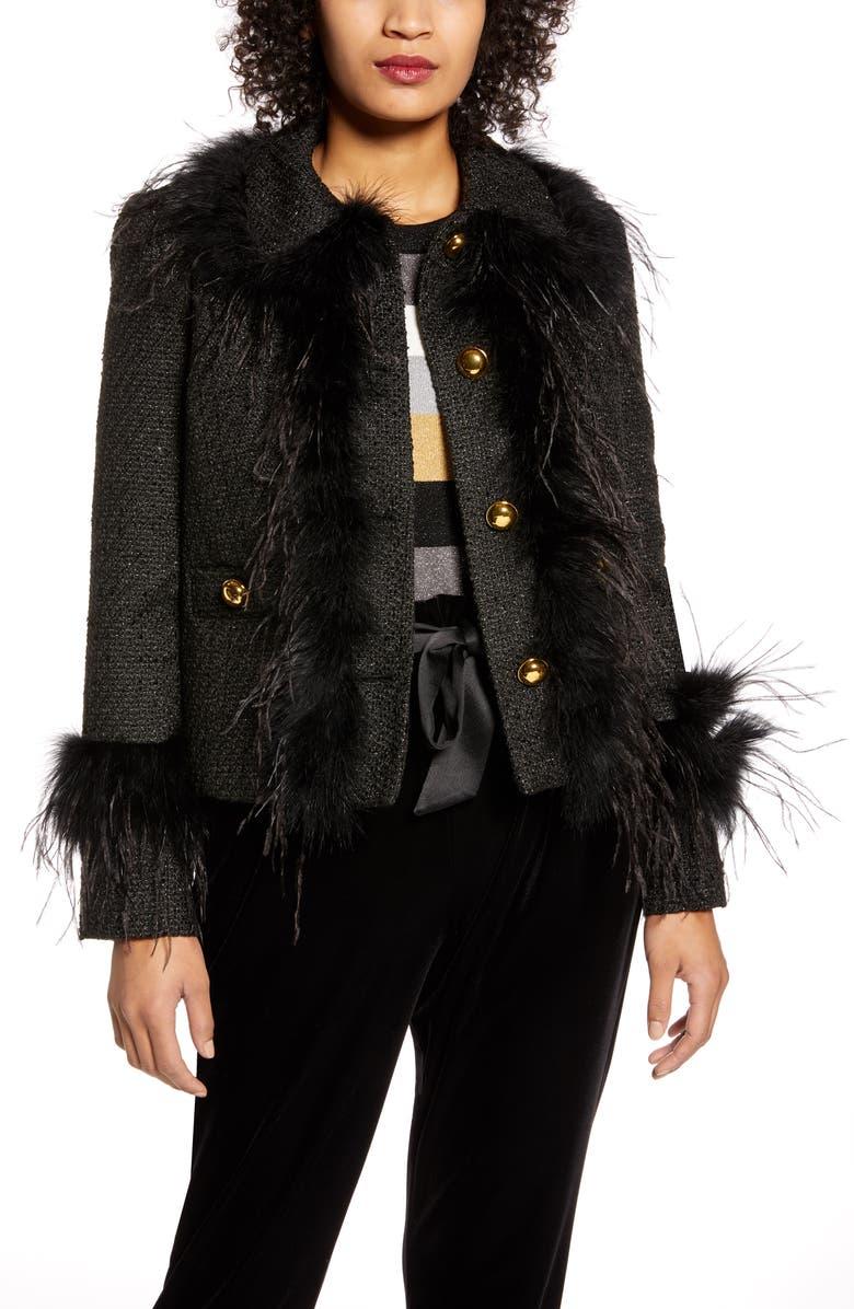 HALOGEN<SUP>®</SUP> x Atlantic-Pacific Feather Trim Tweed Jacket, Main, color, BLACK- GOLD TARA TWEED