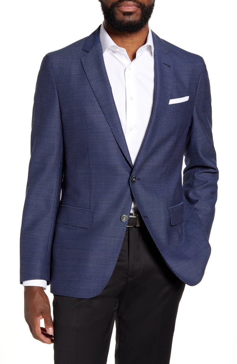 BOSS Hartlay Trim Fit Solid Wool Sport Coat, Main, color, DARK BLUE