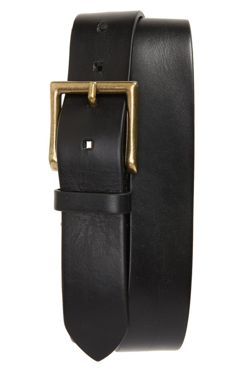 TO BOOT NEW YORK Vachetta Leather Belt, Main, color, FLORIDA BLACK