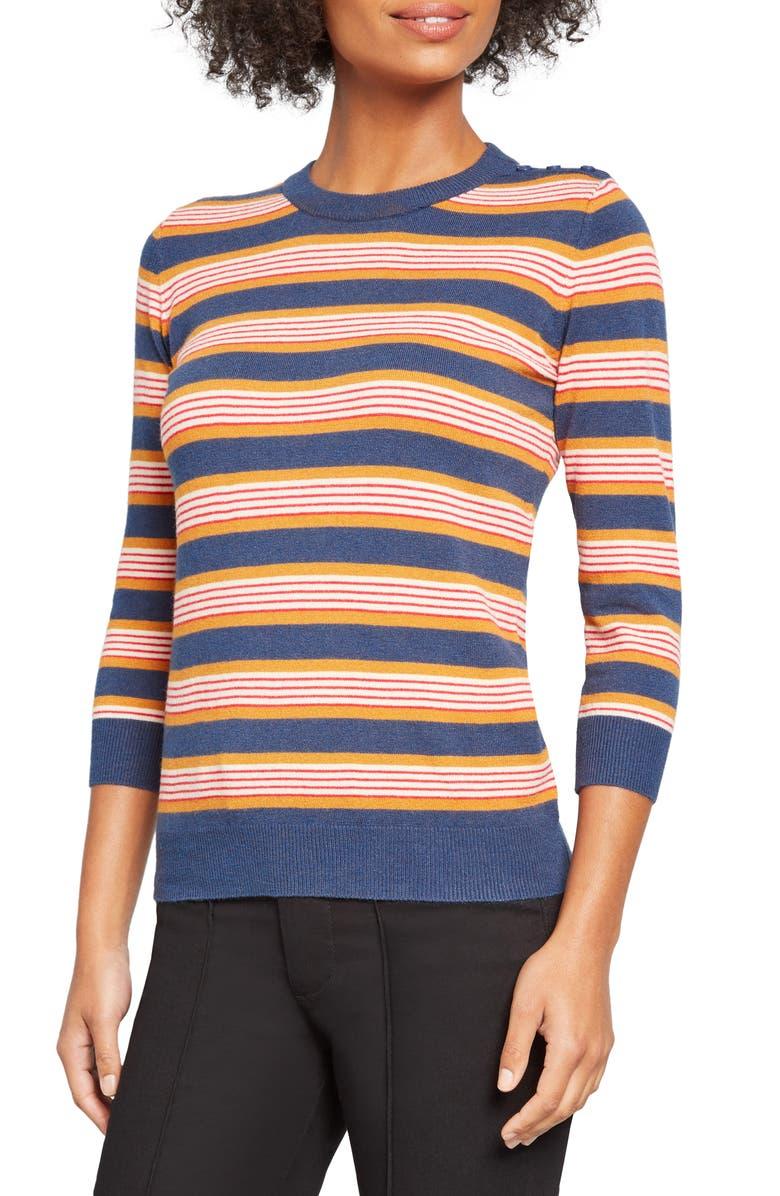 MODCLOTH Charter School Stripe Sweater, Main, color, BLUE MULTI