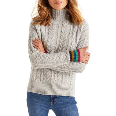 Boden Winifred Cable Stripe Sparkle Cuff Wool, Cotton & Alpaca Blend Sweater, Grey