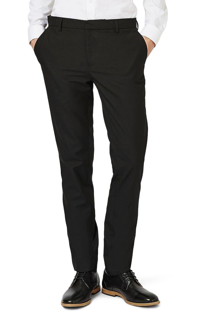 TOPMAN Skinny Fit Pants, Main, color, BLACK