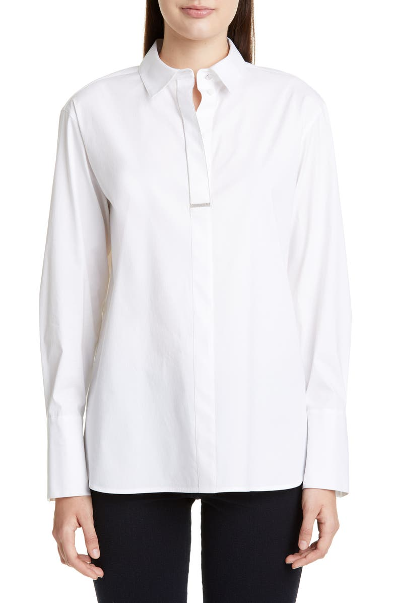 LAFAYETTE 148 NEW YORK Acelyn Chain Trim Blouse, Main, color, WHITE