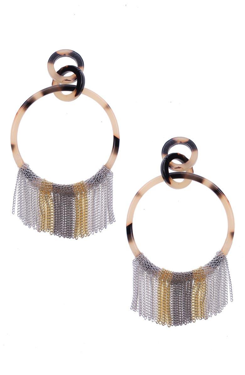 NAKAMOL CHICAGO Fringe Hoop Earrings, Main, color, BROWN MIX