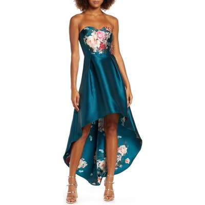 Chi Chi London Brie Strapless High/low Gown, Green