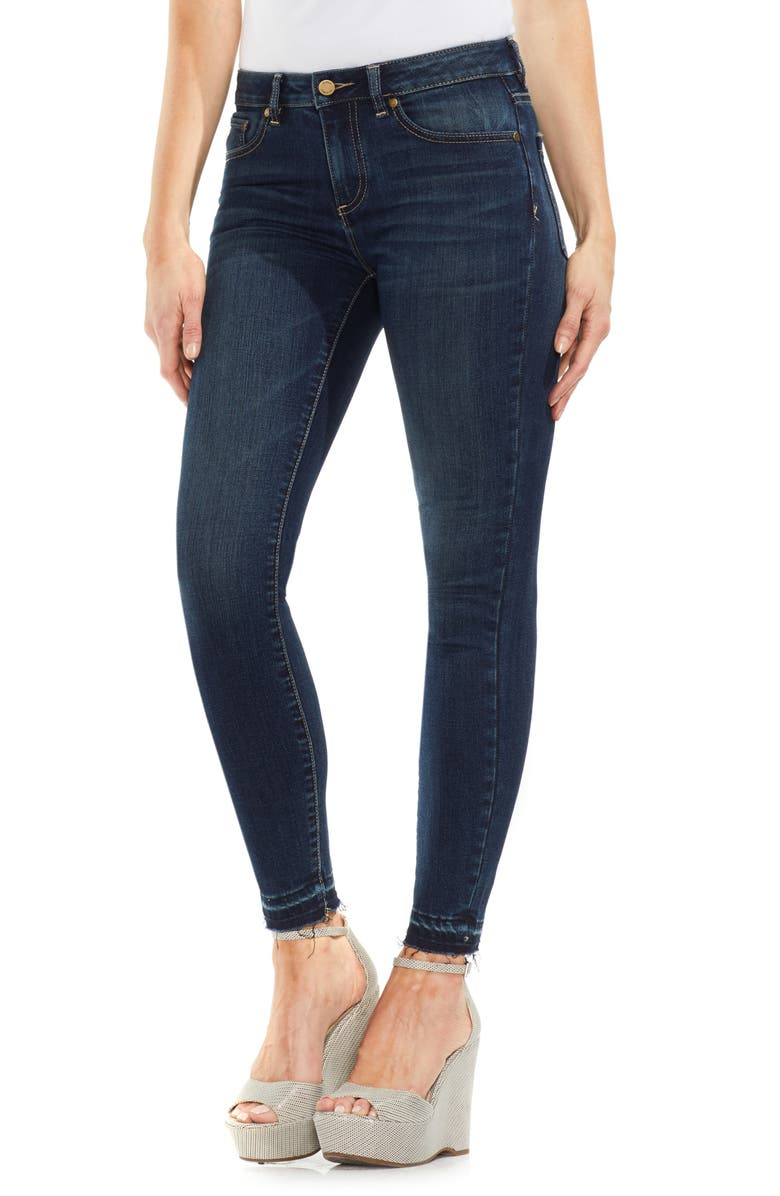 VINCE CAMUTO Release Hem Skinny Jeans, Main, color, DARK AUTHENTIC