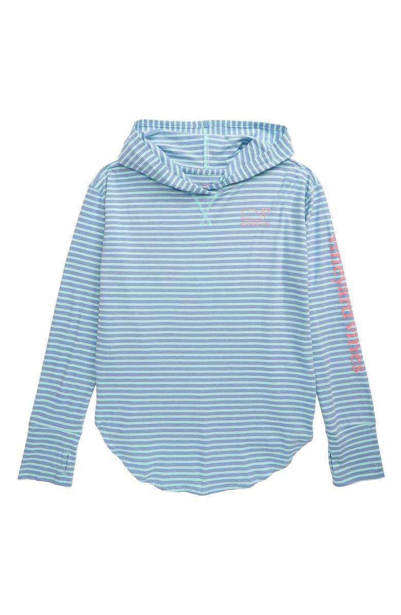 VINEYARD VINES Windward Stripe Hoodie T-Shirt, Main, color, CRYSTAL BLUE