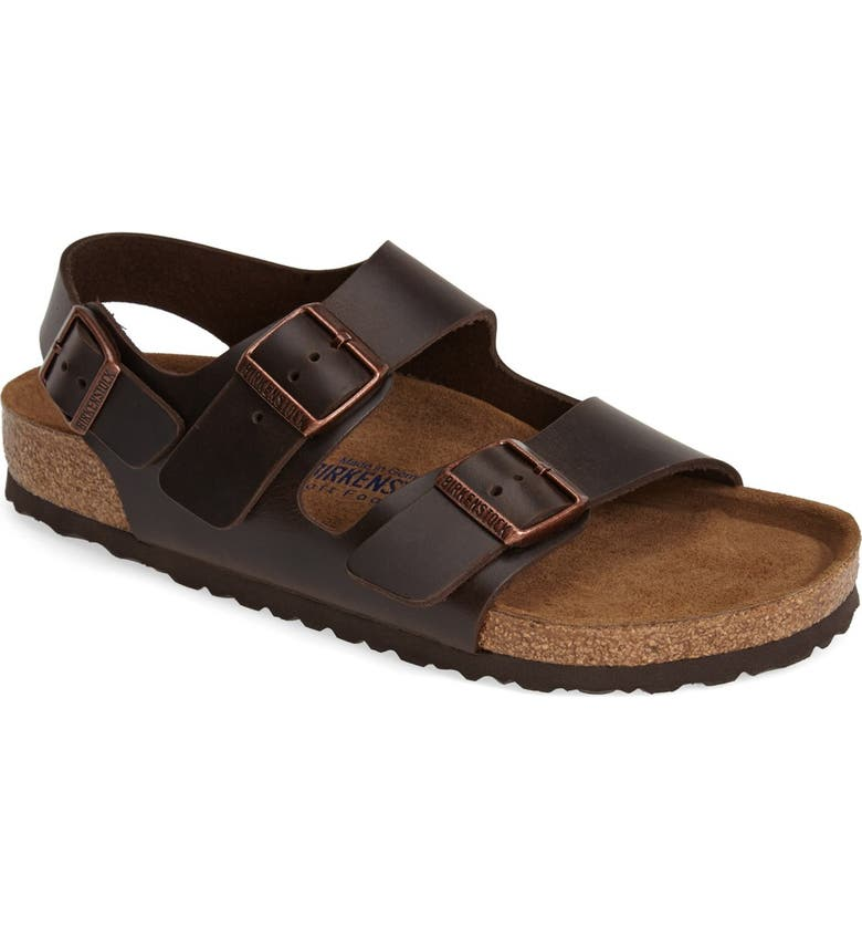 BIRKENSTOCK 'Milano' Soft Footbed Sandal, Main, color, AMALFI BROWN
