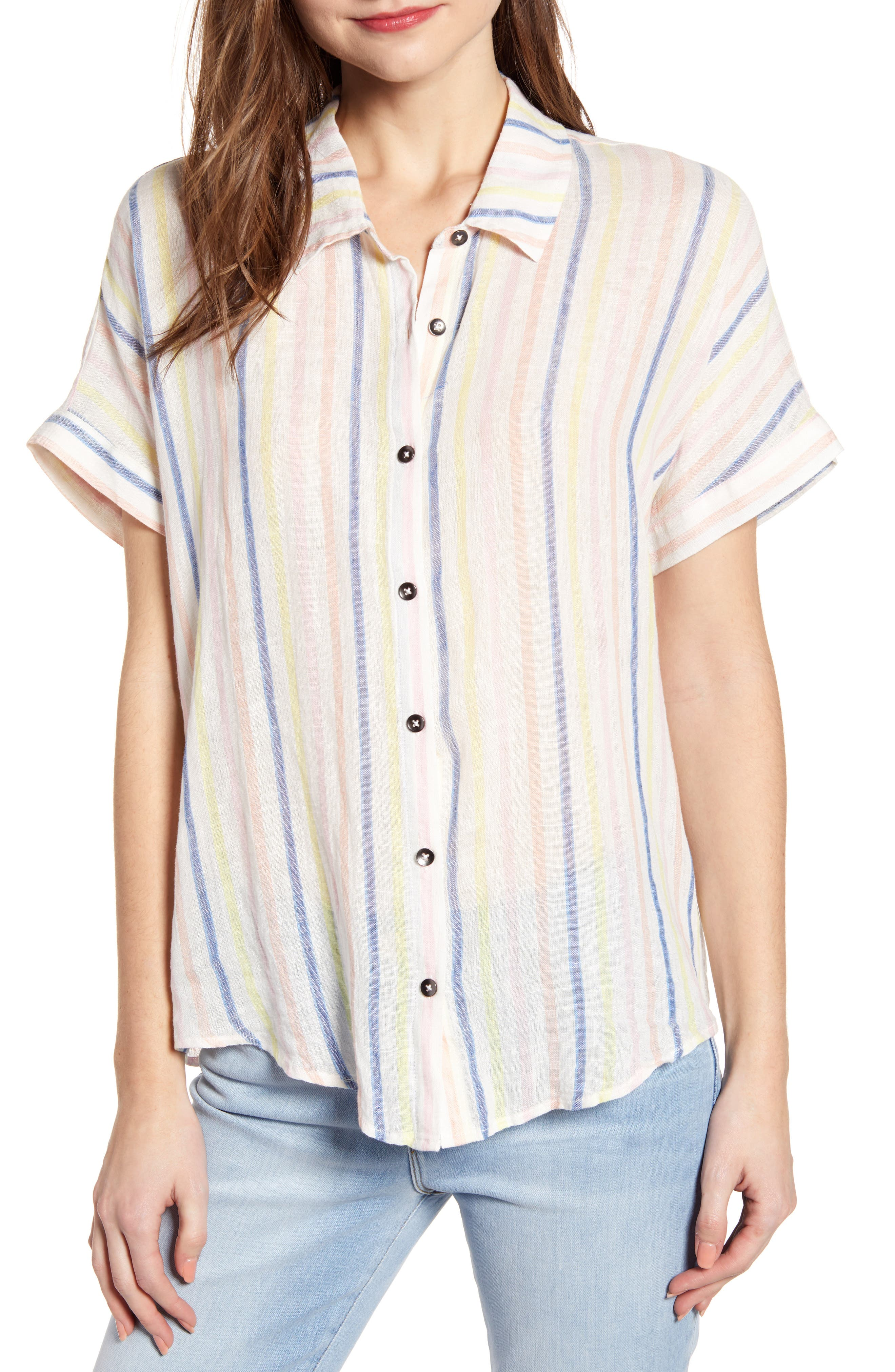Picnic Stripe Shirt, Main, color, NATURAL