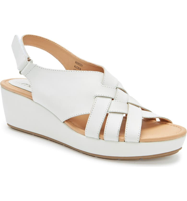 ME TOO Alexi Wedge Sandal, Main, color, WHITE LEATHER