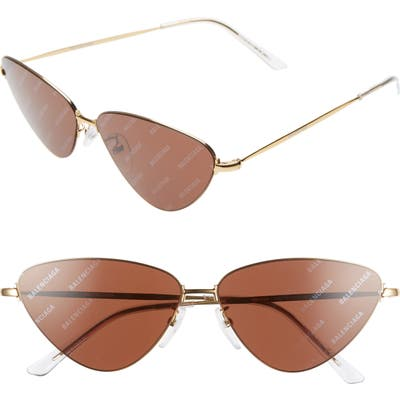 Balenciaga 61Mm Cat Eye Sunglasses - Shiny Endura Gold/ Brown