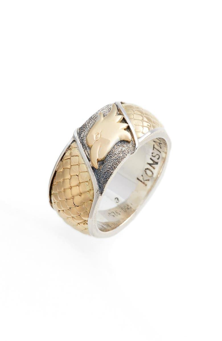 KONSTANTINO Heonos Eagle Ring, Main, color, SILVER/ GOLD