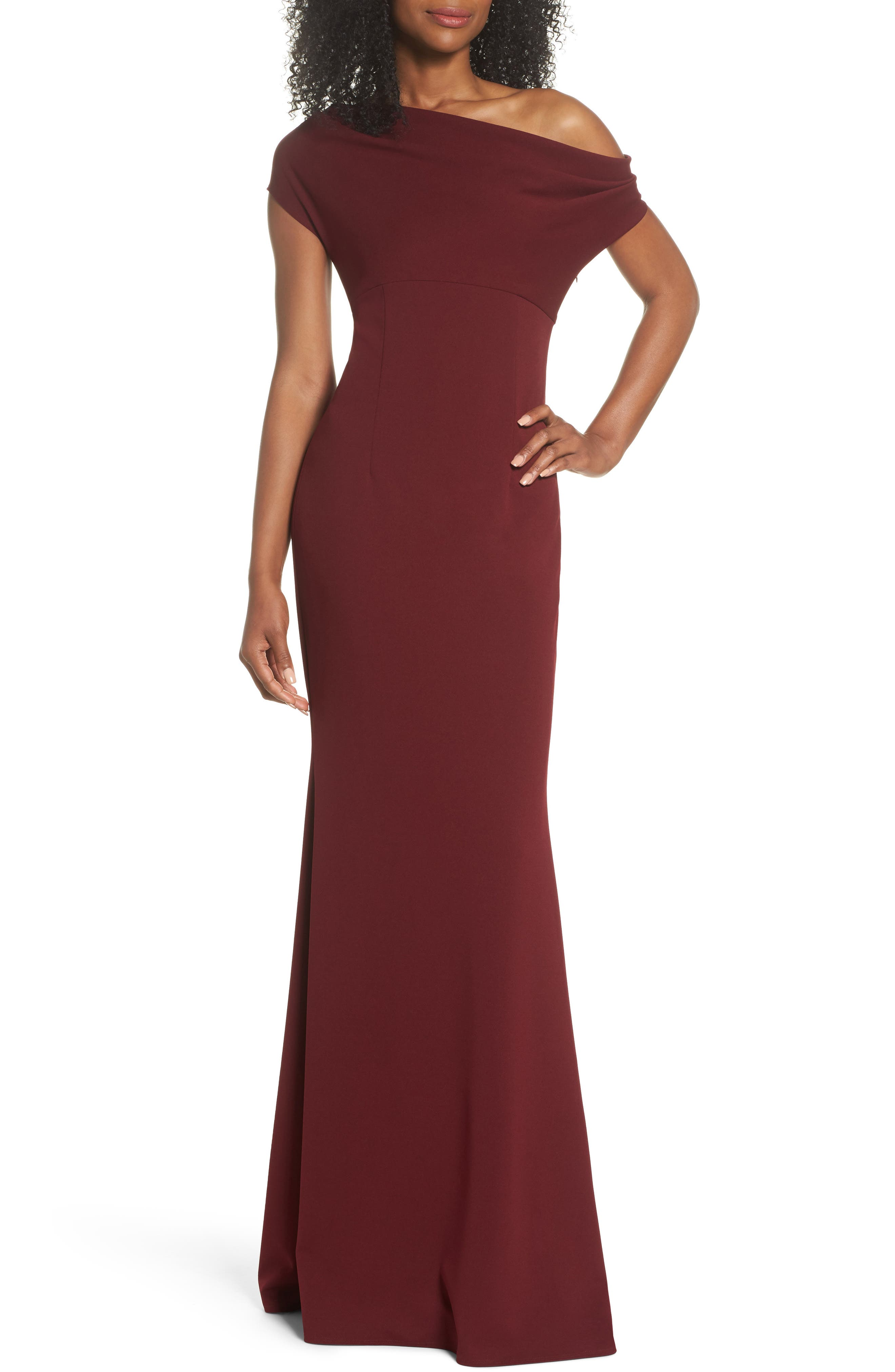 Katie May Hannah One-Shoulder Crepe Trumpet Gown, Burgundy