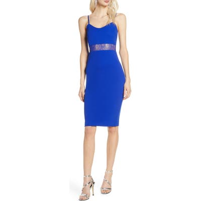 Lulus Limo Ride Lace Inset Cocktail Dress, Blue