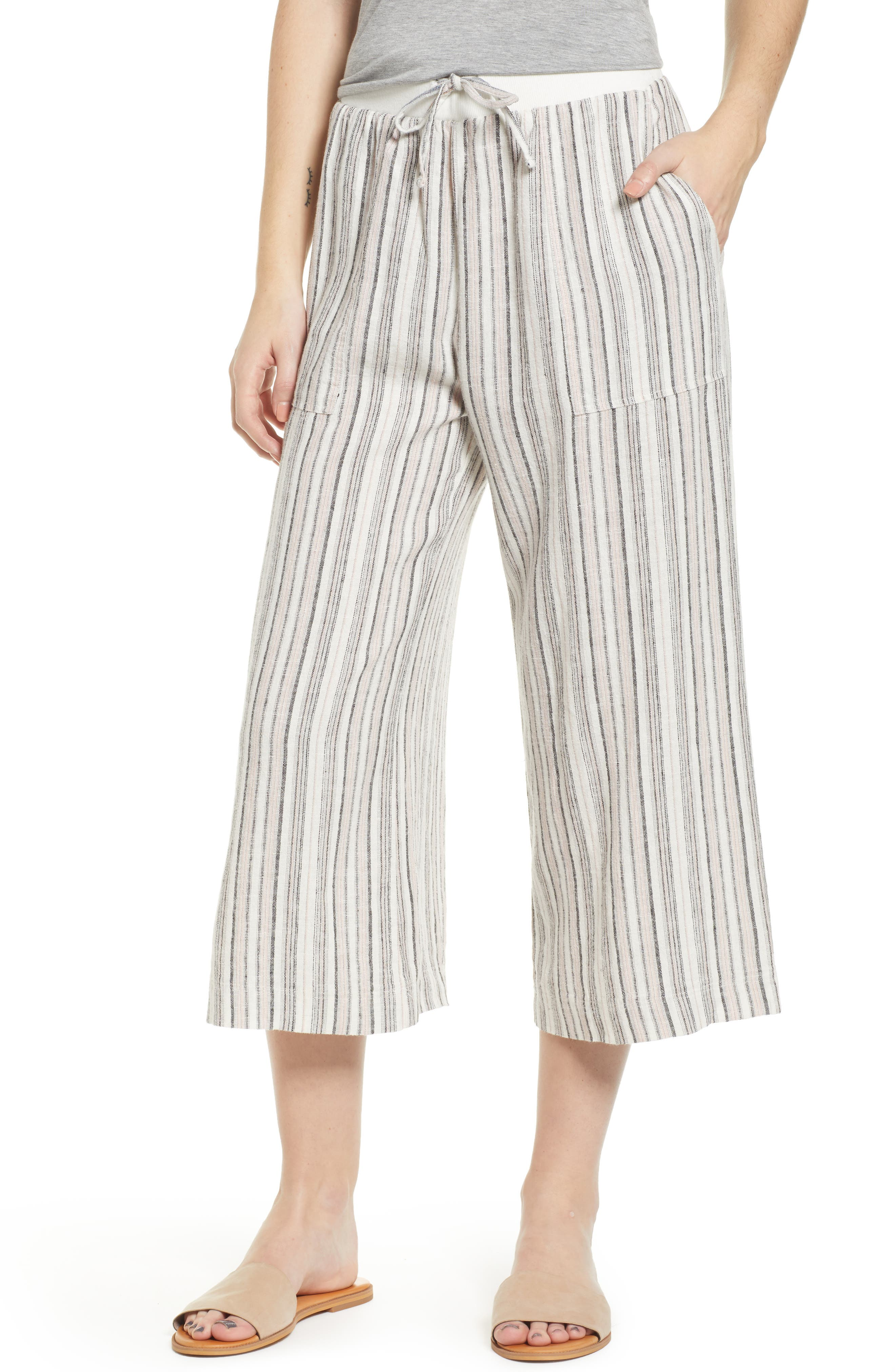 ,                             Stripe Crop Linen Blend Pants,                             Main thumbnail 14, color,                             680