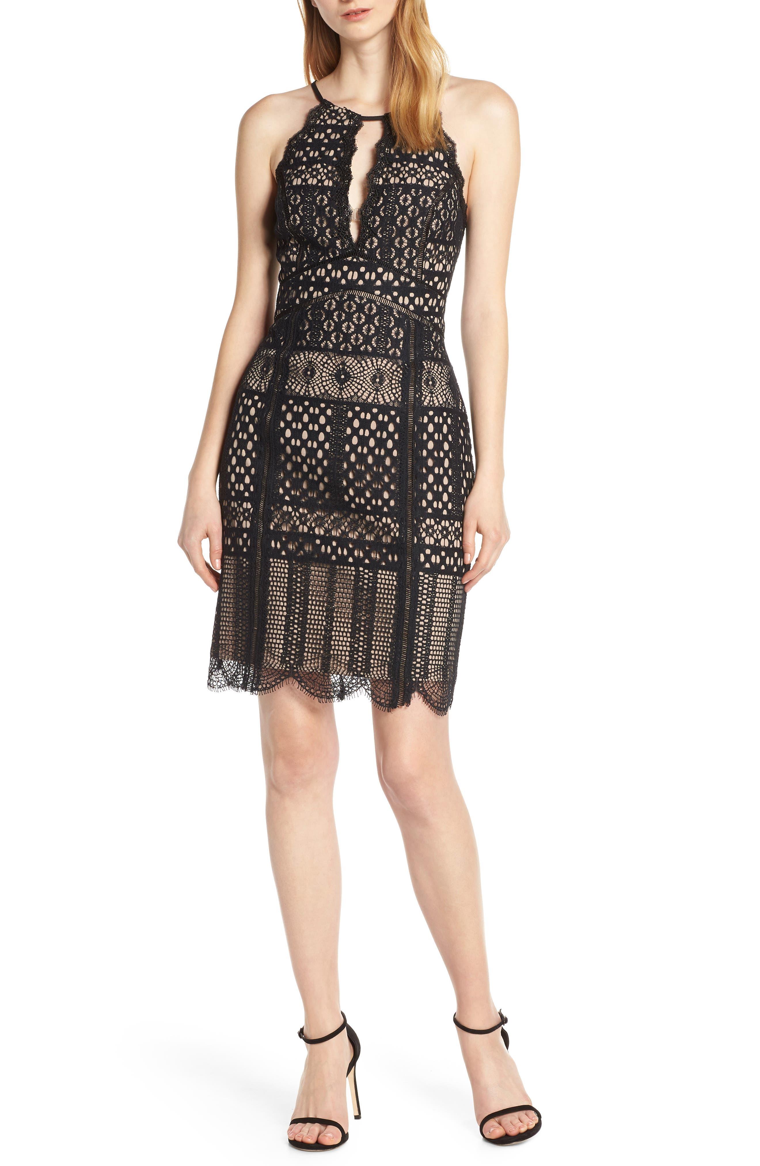 Harlyn Halter Neck Lace Cocktail Dress, Black