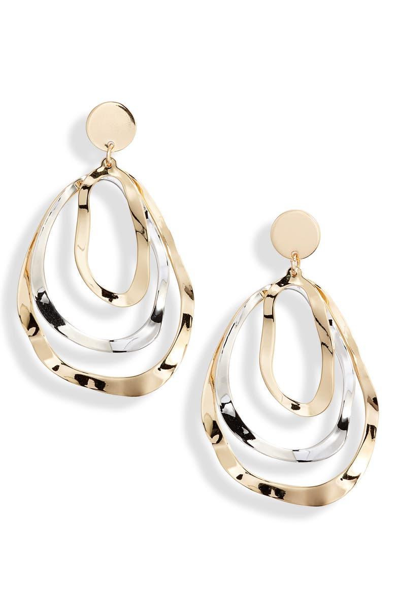 TEN79LA Triple Layer Oval Earrings, Main, color, 710