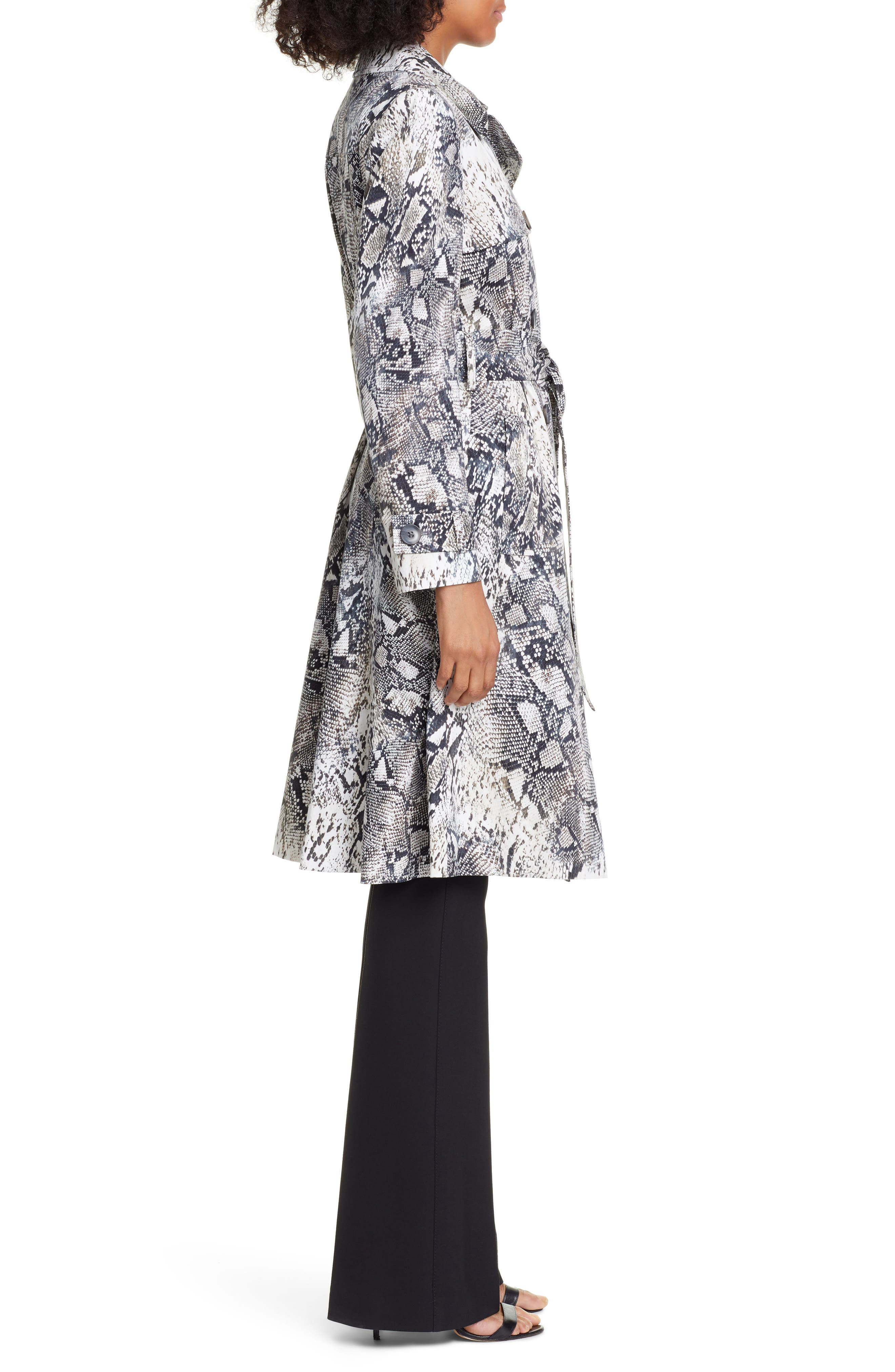 ,                             Snake Print Double Breasted Stretch Cotton Trench Coat,                             Alternate thumbnail 4, color,                             SNAKE