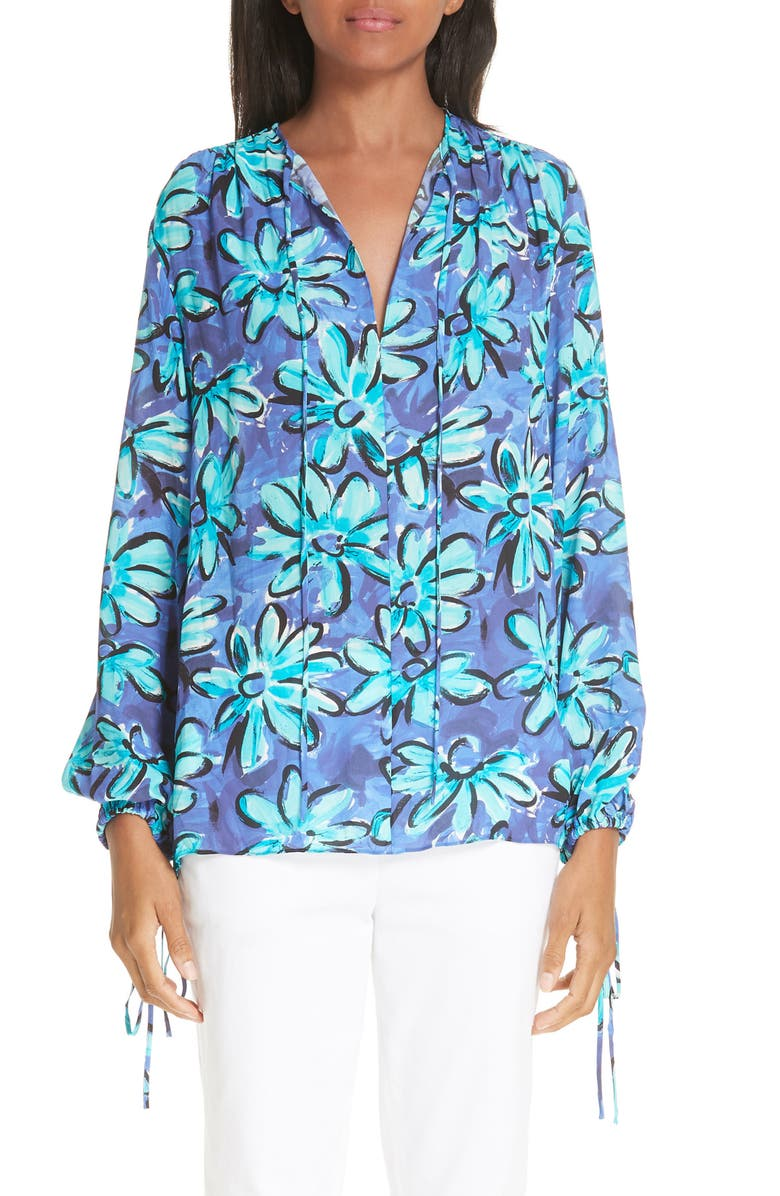 MICHAEL KORS Daisy Print Silk Georgette Blouse, Main, color, 300