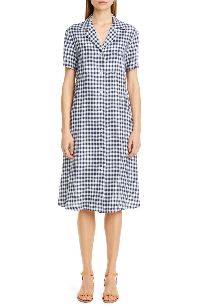 MANSUR GAVRIEL Gingham Linen Shirtdress, Main, color, 460