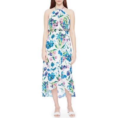 Parker Dottie Floral High/low Silk Blend Dress, Blue/green