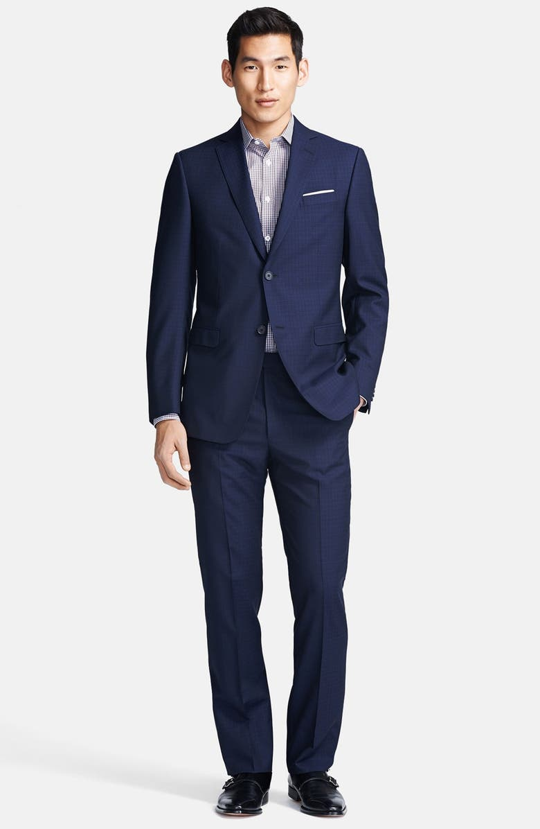 Z ZEGNA Trim Fit Navy Check Twill Wool Suit, Main, color, 412