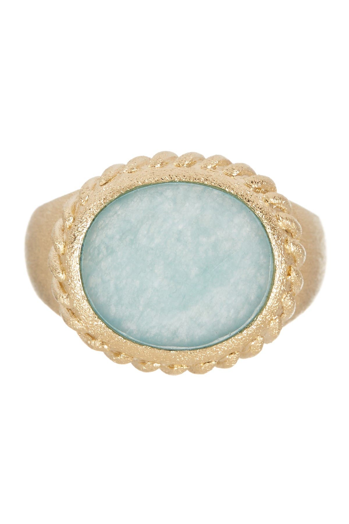 Image of Rivka Friedman Twisted Bezel Oval Faceted Caribbean Blue Quartzite Satin Ring