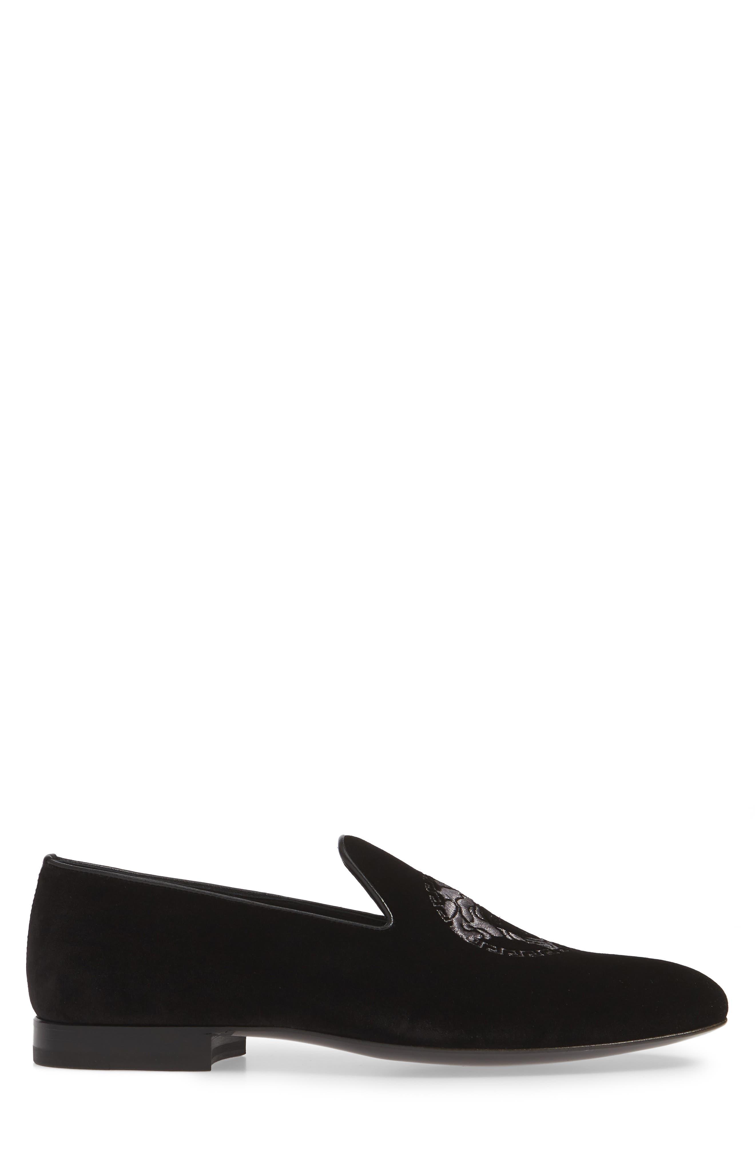 ,                             Medusa Embroidered Velvet Loafer,                             Alternate thumbnail 3, color,                             BLACK/ RUTHENIUM