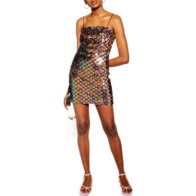 Topshop Sequin Minidress, US (fits like 6-8) - Purple