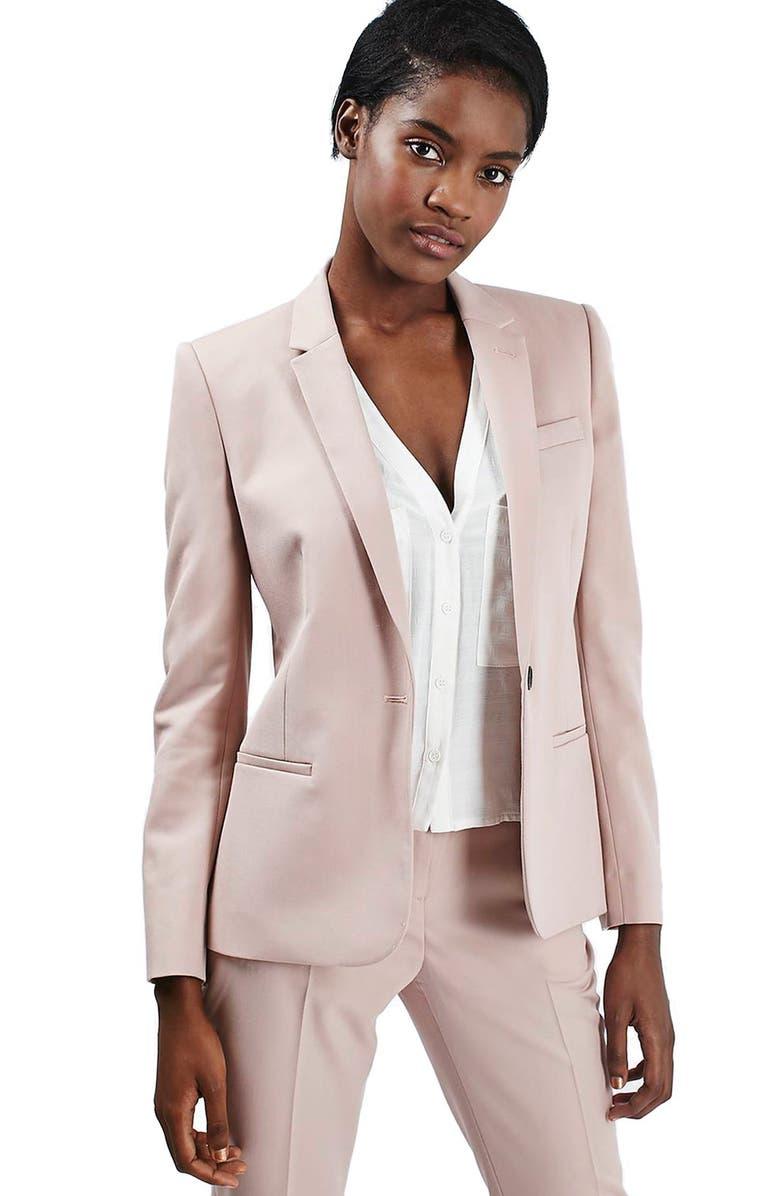 TOPSHOP Premium Suit Blazer, Main, color, 250