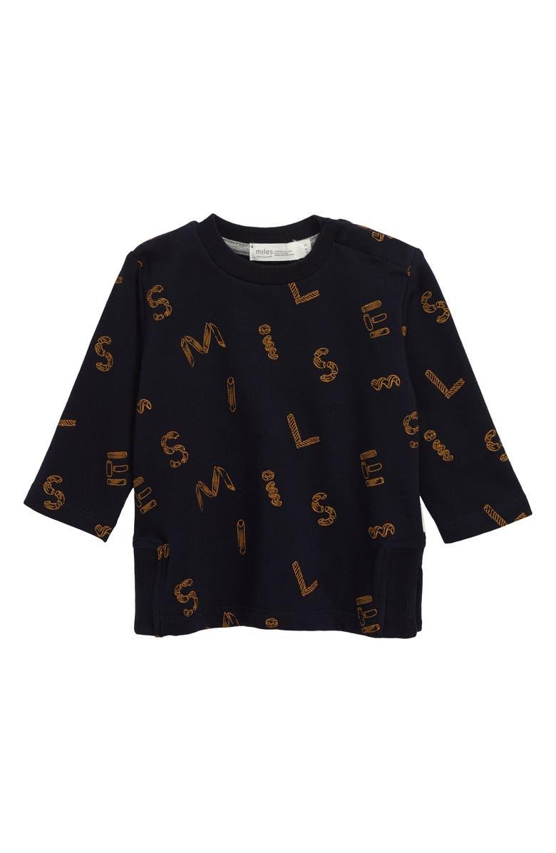 MILES BABY Print Sweatshirt, Main, color, NAVY