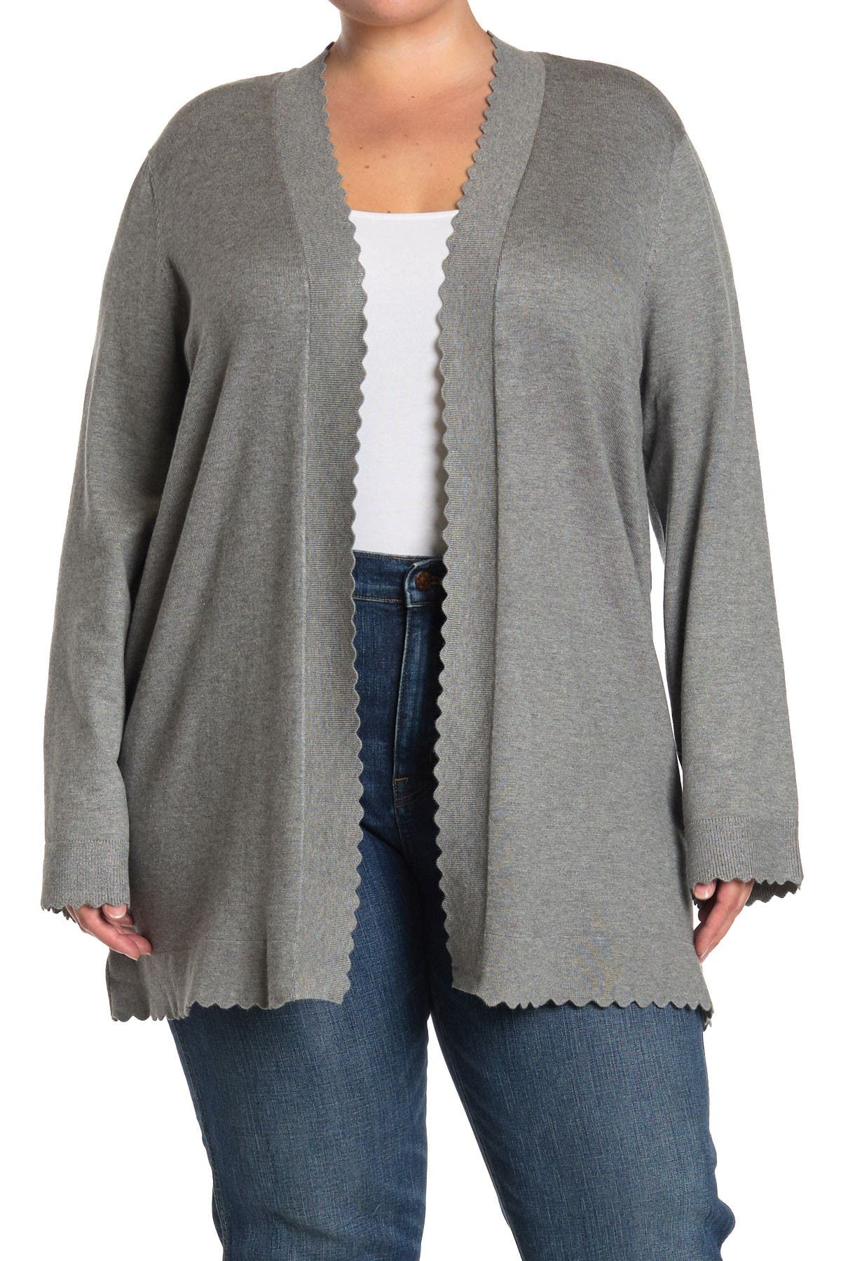 Image of Cyrus Scalloped Edge Open Front Cardigan