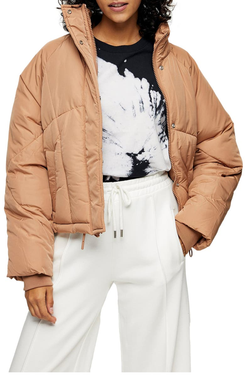 TOPSHOP Lorrcan Puffer Jacket, Main, color, ROSE