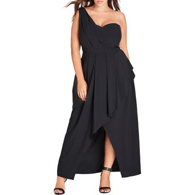 Plus Size City Chic Allure One-Shoulder Maxi Dress, Black